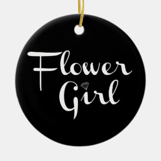 Flower Girl Retro Script White on Black Ceramic Ornament