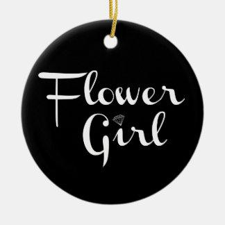 Flower Girl Retro Script White on Black Ceramic Ornament