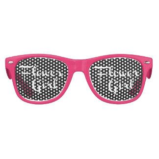 Flower Girl Retro Script White on Black Kids Sunglasses