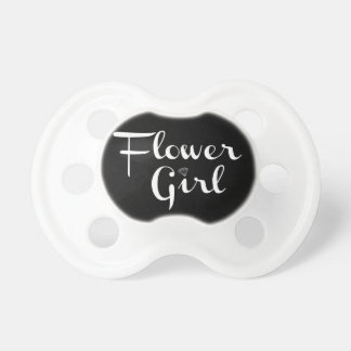 Flower Girl Retro Script White on Black Pacifier