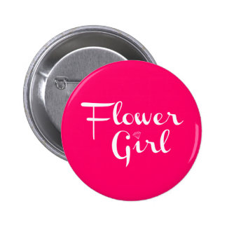 Flower Girl Retro Script White on Hot Pink Pinback Button