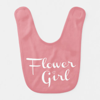 Flower Girl Retro Script White on Peach Baby Bib