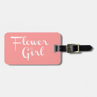 Flower Girl Retro Script White on Peach Bag Tag