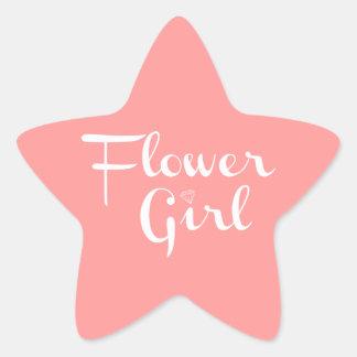 Flower Girl Retro Script White on Peach Star Sticker