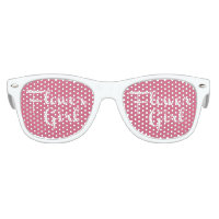 Flower Girl Retro Script White on Pink Kids Sunglasses