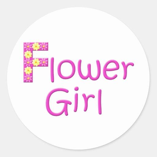 flower girl round stickers