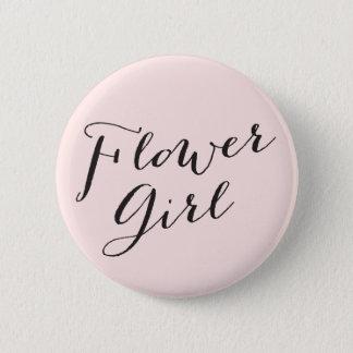Flower Girl Script Wedding Bridal Party Button