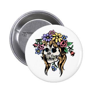 flower girl skull pinback button