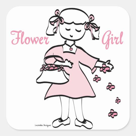 Flower Girl Square Sticker
