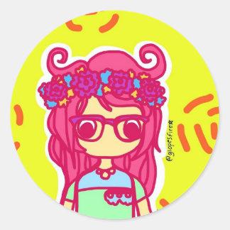 Flower Girl Classic Round Sticker