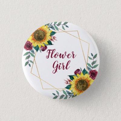 Flower Girl Sunflower Geometric Burgundy Button