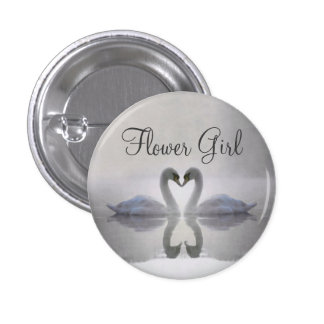 Flower Girl - Swans in Love Button