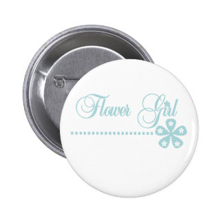 Flower Girl Teal Elegance Pinback Button