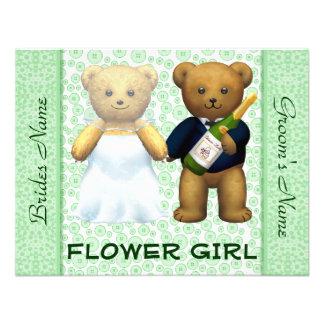 Flower Girl Teddy Bears Apple Green Wedding Invite