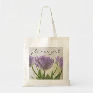 Flower girl tote bag with purple wedding tulips