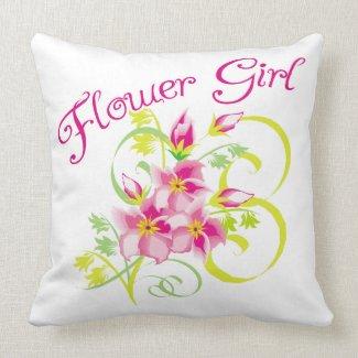 Flower Girl Tropical Flower Throw Pillow