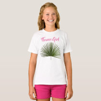 Flower Girl Tropical Palm Frond Leaf Wedding T-Shirt