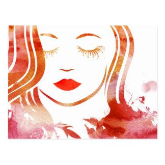 Flower Girl Vector Postcard