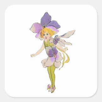 Flower Girl - Vintage Illustration Square Sticker