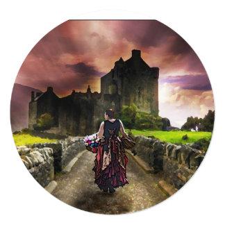 Flower Girl Walking Towards the Enchanted Castle Invitation