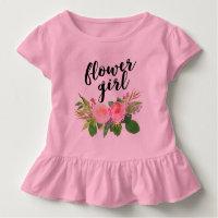 flower girl watercolor floral toddler t-shirt