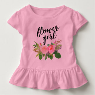 flower girl watercolor floral toddler t-shirt