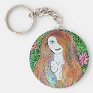 Flower Girl Watercolor Mosaic Basic Round Button Keychain