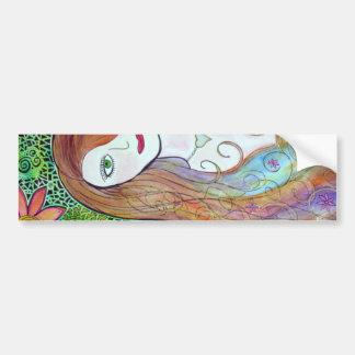 Flower Girl Watercolor Mosaic Bumper Sticker