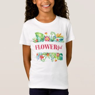 Flower Girl Watercolor Tropical Beach Wedding Toddler T-shirt