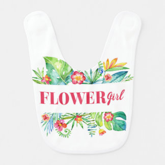 Flower Girl Watercolor Tropical Destination Weddin Baby Bib