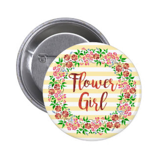 Flower Girl Wedding Floral Watercolor Stripes Cute Button
