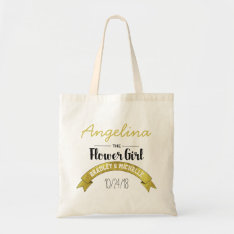 Flower Girl Wedding Tote Bag | Gold Glamour at Zazzle
