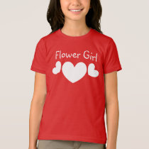 FLOWER GIRL Wedding WHITE Hearts V11 T-Shirt