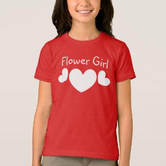 FLOWER GIRL Wedding WHITE Hearts V11 T-Shirt