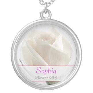 Flower Girl - White Rose Wedding Necklace
