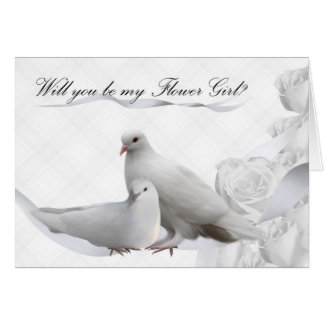 Flower Girl, will you be my bridesmaid dove and ro Greeting Card