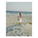 Flower Girl with Basket Standing in the Sand Posters