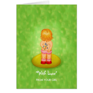 Flower Girl With Love From Daughter to Parents Greeting Card