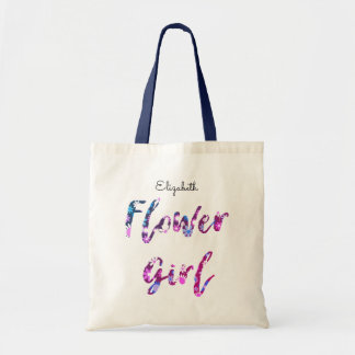Flower Girl with Name Purple Pink Blue Tote Bag