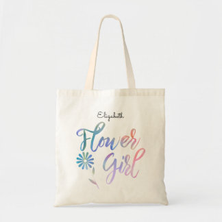 Flower Girl with Name Tote Bag