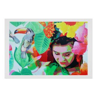 Flower girl with toucan, Madeira Poster