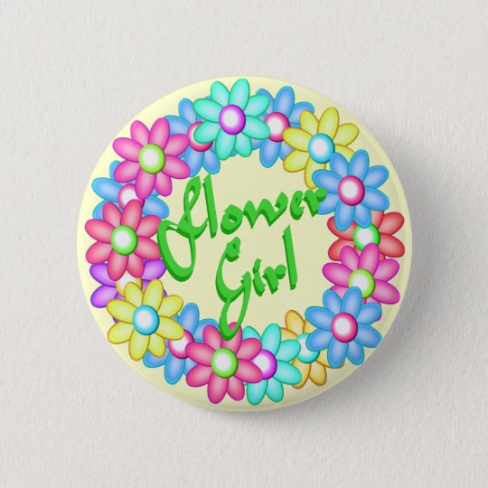 Flower Girl wreath Pinback Button
