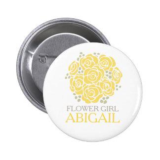 Flower girl yellow posy named wedding pin button