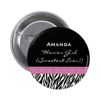 Flower Girl Zebra Custom Name  V08 Pinback Buttons