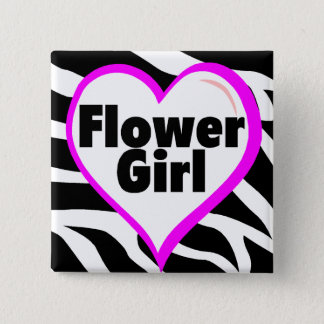 Flower Girl (Zebra Print) Button