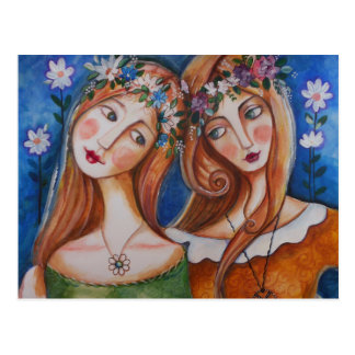 Flower Girls, Flower Power Postcard