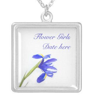 Flower Girls Necklace - Purple Iris Flower
