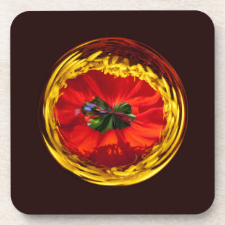 Flower globe in red and yellow beverage coaster