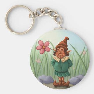 flower gnome garden basic round button keychain