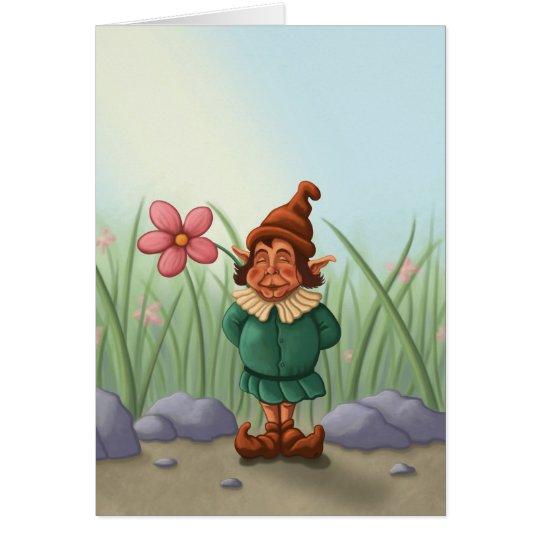 flower gnome garden greeting card